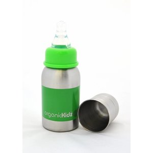 OrganicKidz™ Roestvrijstalen babyfles 0+mnd: groen