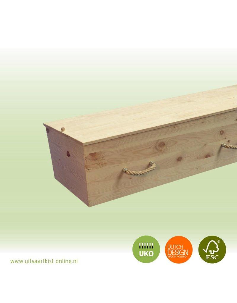 Naaldhout ALLURE sturdy - echte grenenhouten kist + bekleding en met 6 touwgrepen
