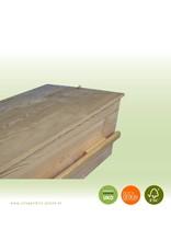 Naaldhout ALLURE style – ambachtelijk gemaakte moderne massief grenen grafkist met 2 lange grepen. Compleet en gebruiksklaar geleverd.