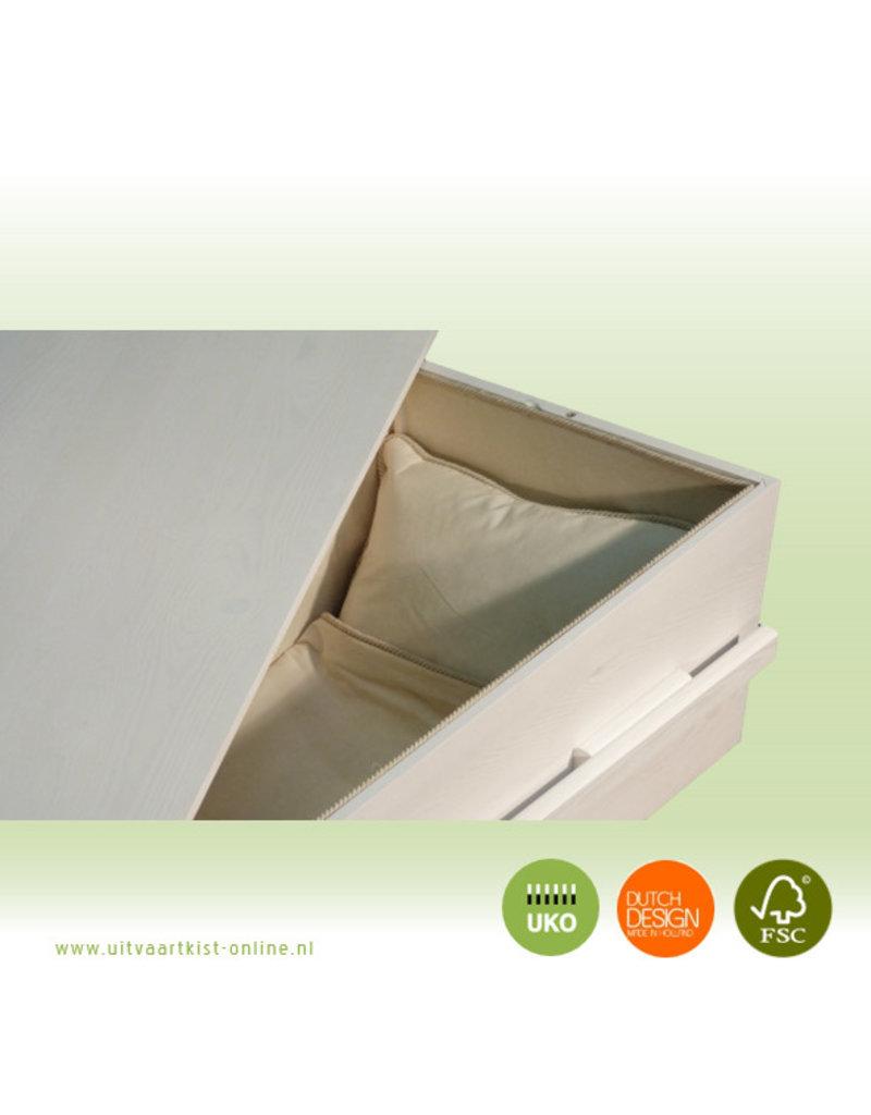 Naaldhout ALLURE eco white - witte grafkist + bekleding en 2 lange grepen