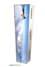 Gelaagd eco-hout Moderne design eco-grafkist met thema wintersport