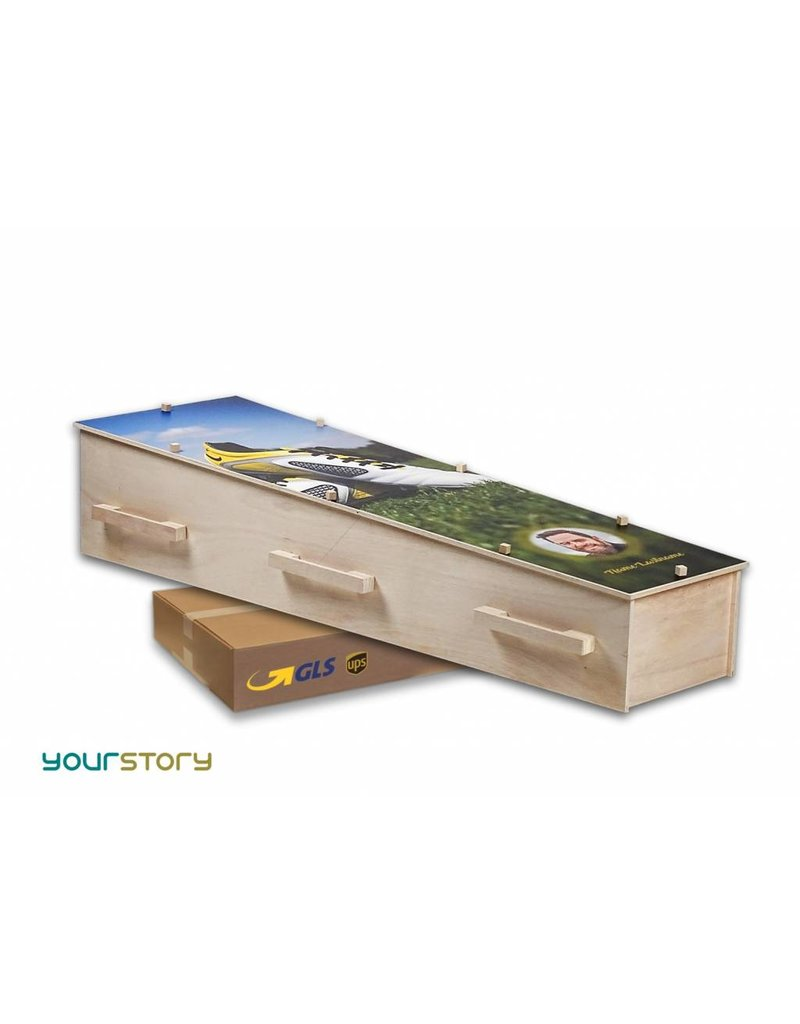 Coffin in a Box Moderne design eco-grafkist met thema auto & motor