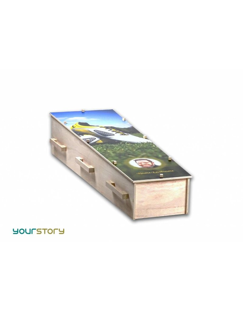Gelaagd eco-hout YOURSTORY eco-grafkist met flower-power fotoprint