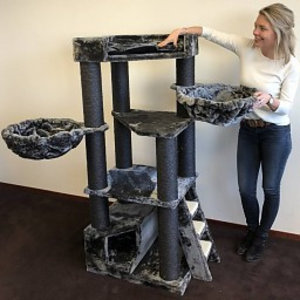 RHRQuality Cat Tree Corner Coon Blackline Dark Grey