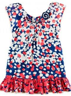 Derhy Kids zomerjurkje tuniek in rood blauw witte dots, maat 134/140