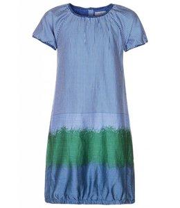 AYA Naya jurkje blauw wit gestreept/geblokt en groen Indigo