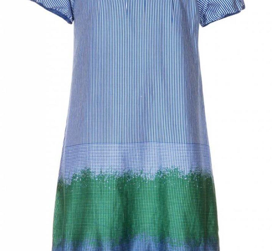 Jurkje blauw wit gestreept/geblokt en groen 'Indigo' van Aya Naya