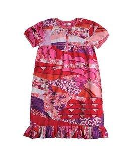 AYA Naya 60% korting: meisjesjurkje met bloemen in rood paars roze met gratis bloem haarelastiek