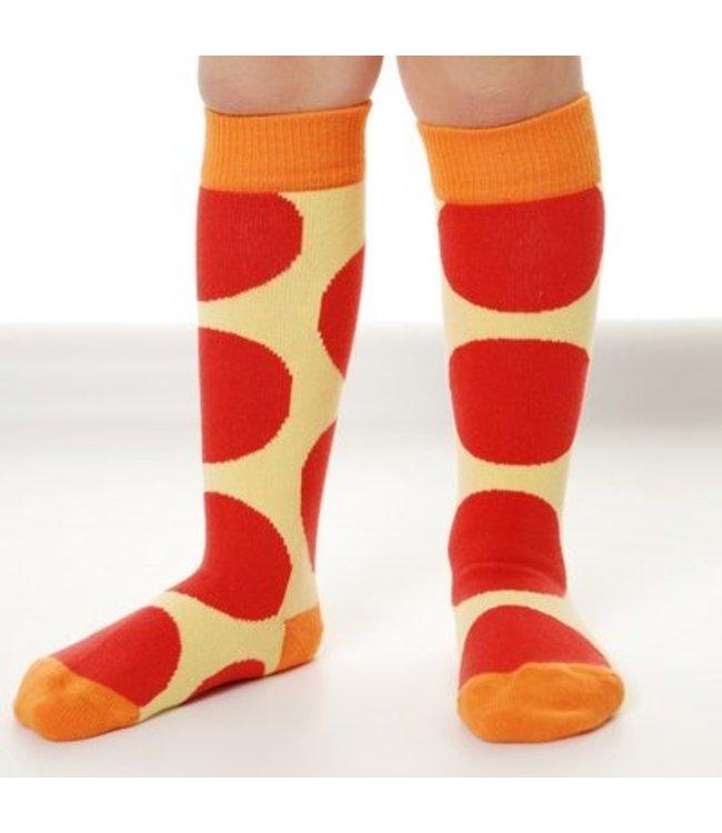 DUNS Sweden gele sokken met rode bollen kniekousen van DUNS Sweden