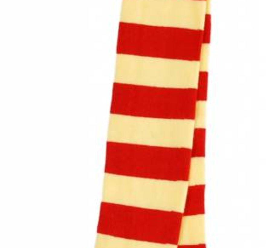 Maillot gestreept rood geel met roze hiel/teen van Duns Sweden