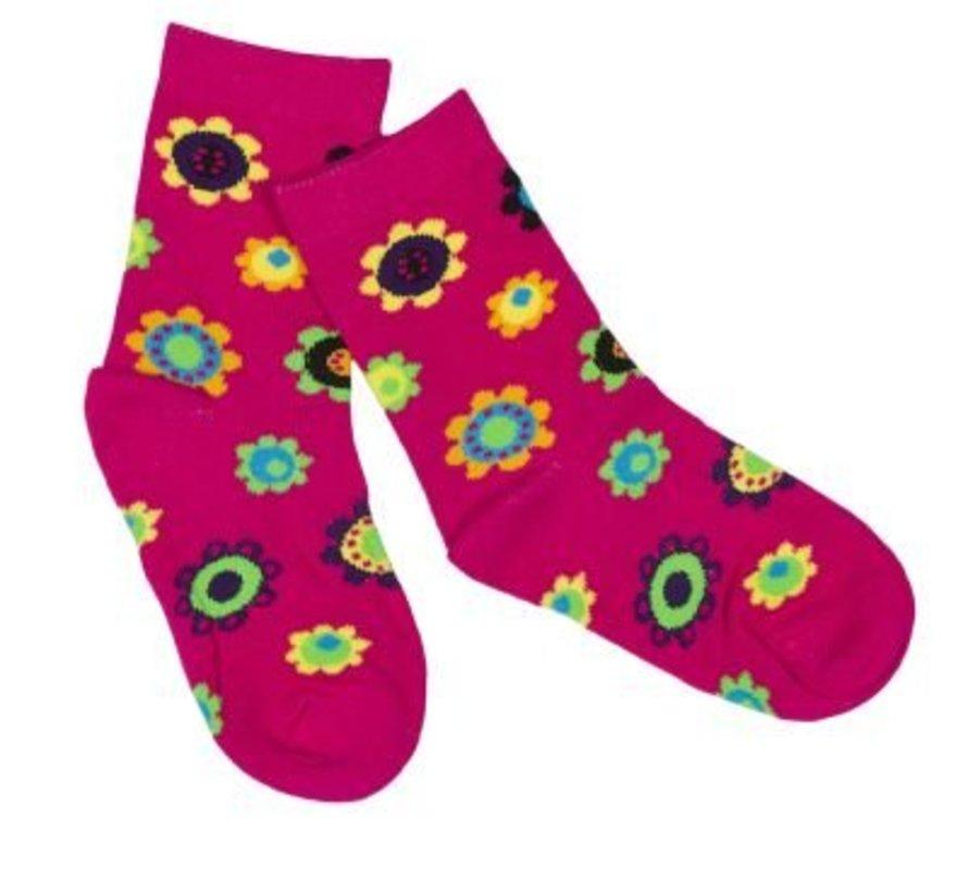 Roze sokken met bloemen