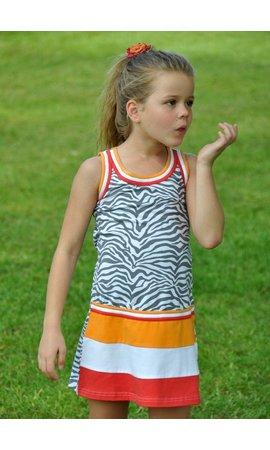 LoFff 60% korting: zomerjurkje oranje rode banen met grijze zebraprint