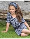 Blauw jurkje met veertjes en vleermuismouwtjes van de zomercollectie van Lofff 2