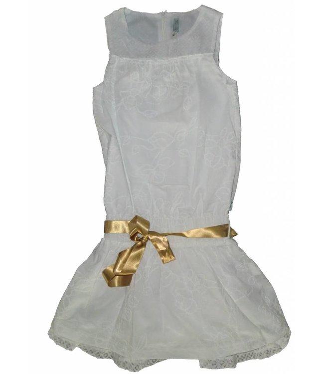 Doerak jurkjes Wit feestjurkje met goud knoopband van Doerak