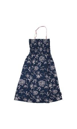 MIJN-kleding Enkellange strandjurk blauw/offwhite bloemenmotief