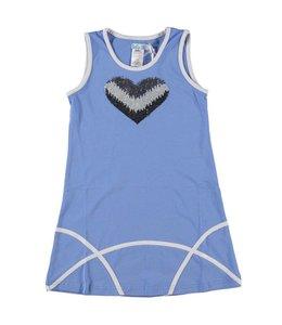 LoFff 60% korting: :zomerjurkje jeansblauw met zilveren pailletjes hart