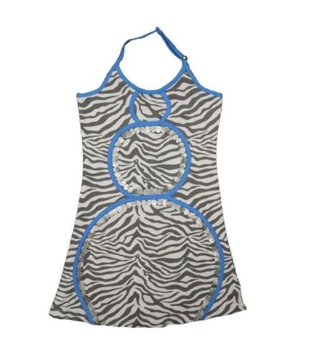 LoFff Halterjurkje grijze zebraprint zomerjurkje uit de hoogzomercollectie van Lofff 2015
