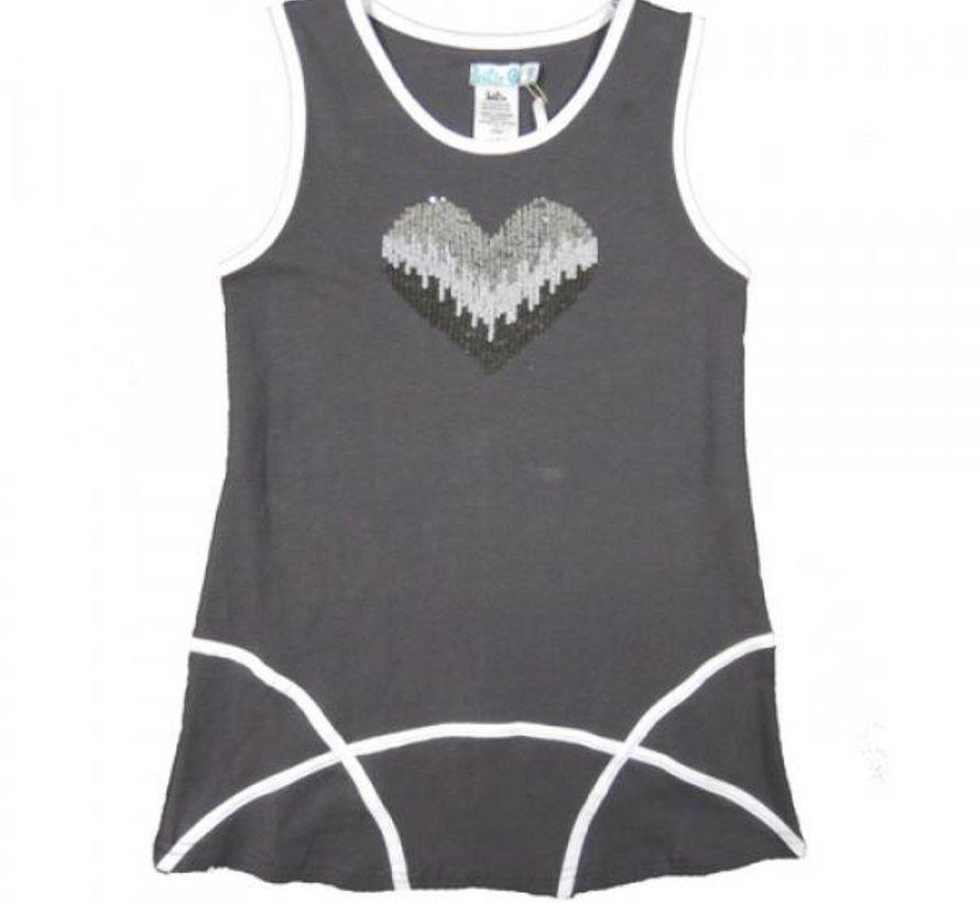 Jurkje grijs met zilveren hart