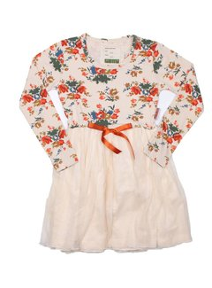 MIJN-kleding partydress gebroken wit met bloemenprint, mt 146