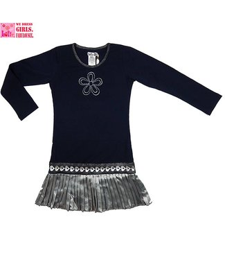 LoFff Blauw jurkje met zilverkleurig rokje