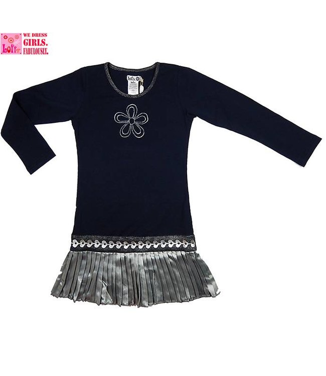 LoFff Blauw jurkje met zilver rokje, wintercollectie van Lofff