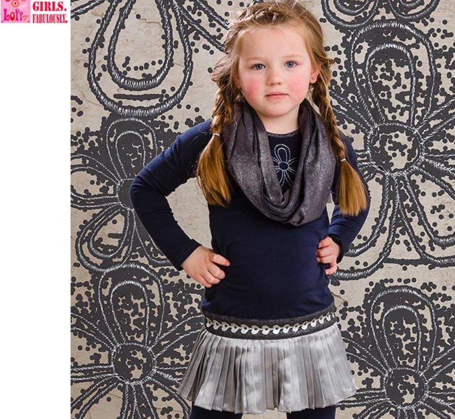 Blauw jurkje met zilver rokje, wintercollectie van Lofff