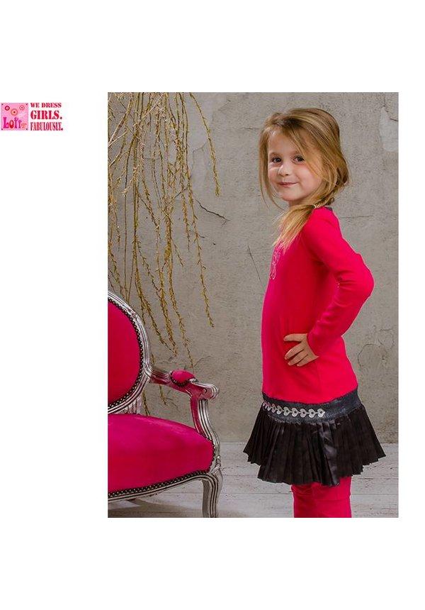Fuchsia jurkje met donkergrijs glimmend rokje