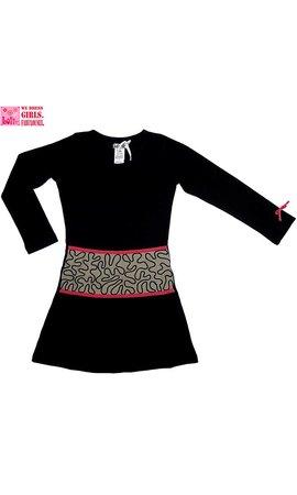 LoFff Zwart jurkje met taupe middenstuk, mt 92