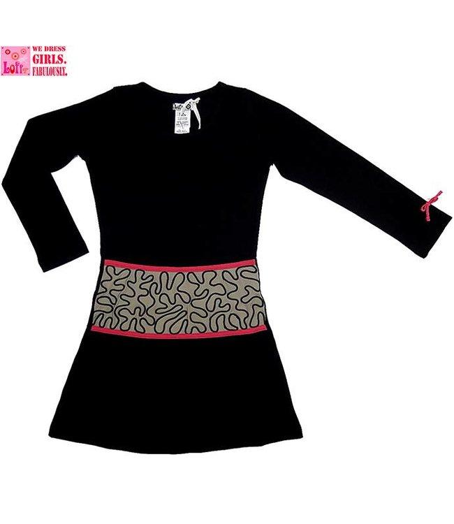 LoFff Zwart jurkje met taupe middenstuk en fuchsia details, wintercollectie van Lofff