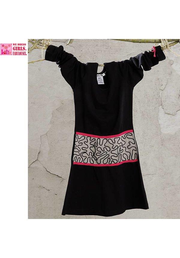 Zwart jurkje met taupe middenstuk en fuchsia details, wintercollectie van Lofff