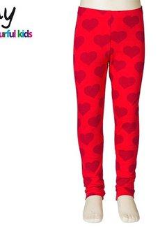 JNY Design Hartjes legging rood
