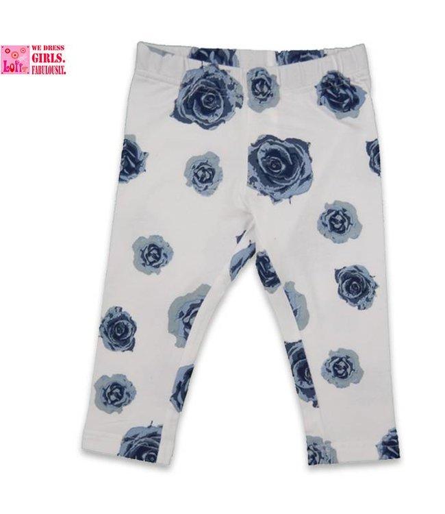 LoFff Legging bloem blauw wit