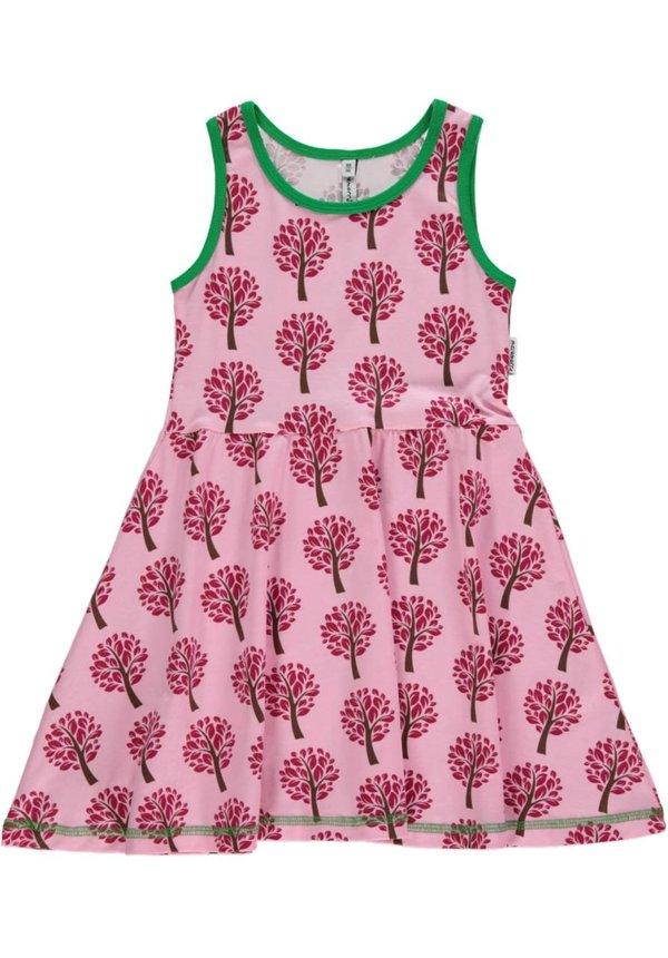 Roze zomerjurkje mouwloos met boompjes van Maxomorra