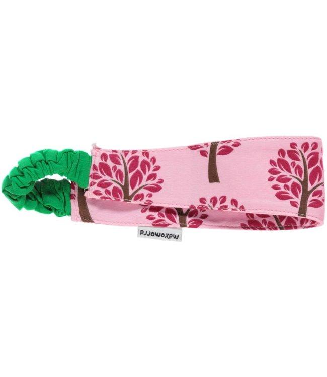 Maxomorra Roze stof haarband met boompjes van Maxomorra