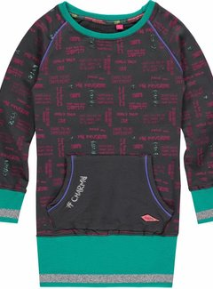 Quapi Sweaterjurkje Elin ebony met tekst