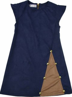 Soekartien Blauw suede jurkje met inzet