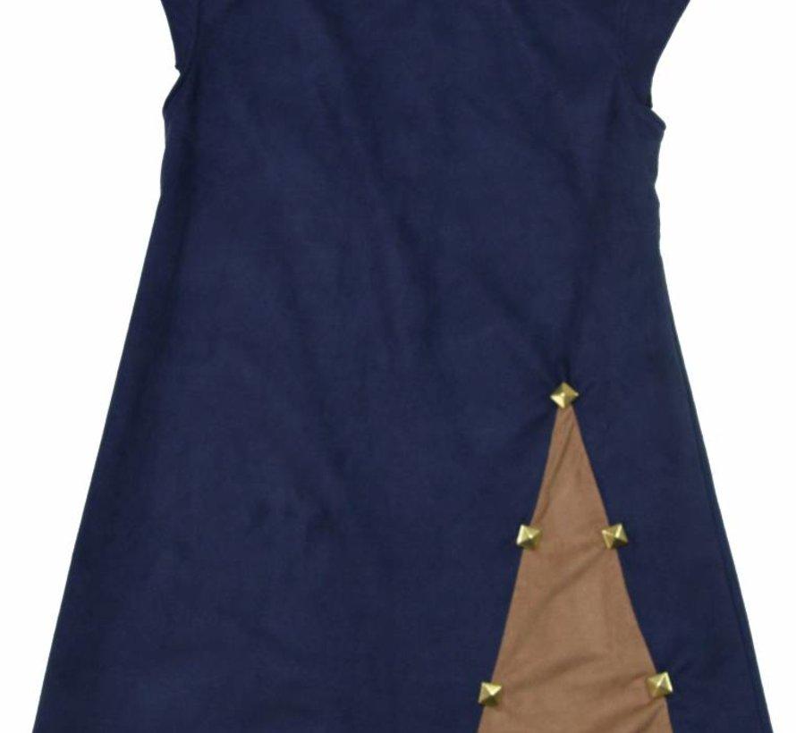 Blauw jurkje suede met inzet uit de wintercollectie van Soekartien 2016/2017