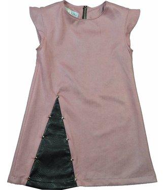 Soekartien SPECIAL PRICE: Roze suède jurkje met zwart leren inzet