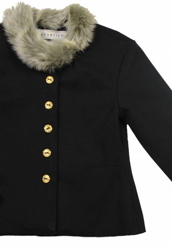 Soekartien Kort gevoerd katoenen jasje met bontkraagje