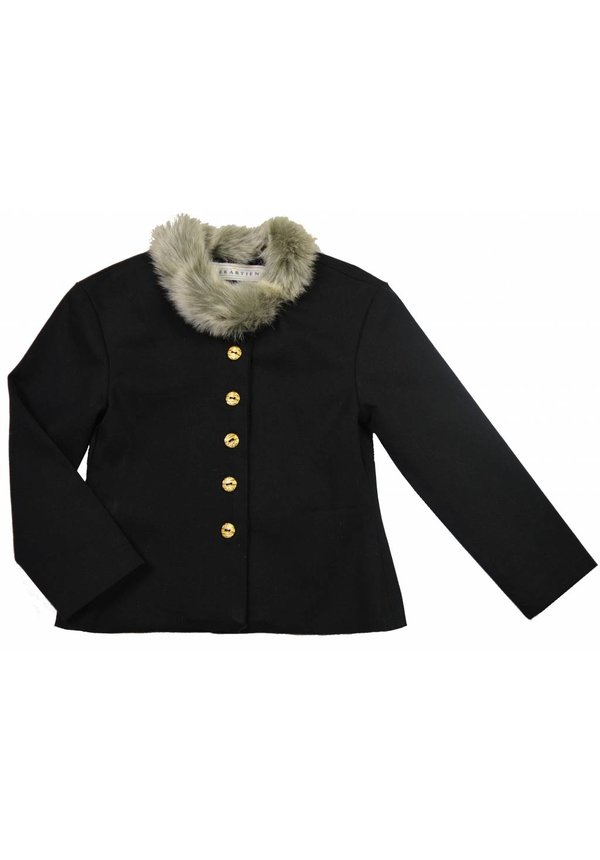 Zwart gevoerd kort jasje met bontkraagje uit de wintercollectie van Soekartien 2016/2017