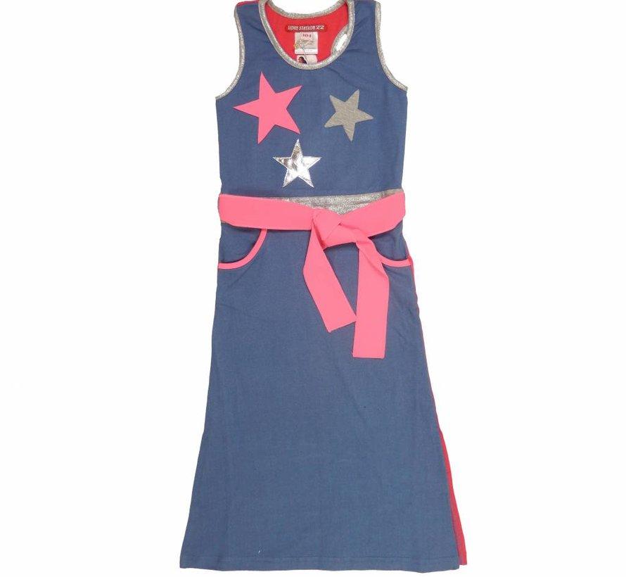 Maxi jurk Kate in denim met neonroze