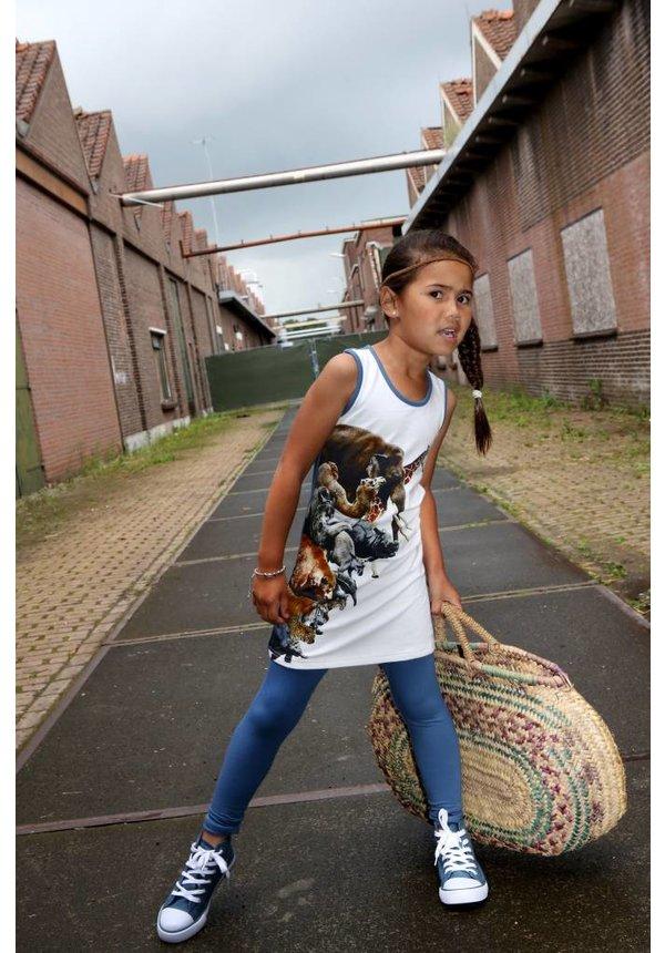 Jurk Sophie met dieren in wit, zomercollectie 2017