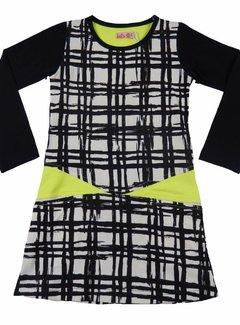 LoFff Zwart-witte jurk met neongeel