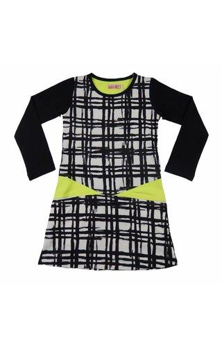LoFff 20% korting! Zwart-witte jurk met neongeel