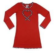 LoFff Winterjurkje hart ruches rood  - Silver edition