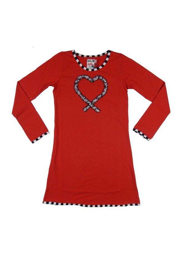 Winterjurkje hart ruches rood van LoFff Silver edition winter 2017