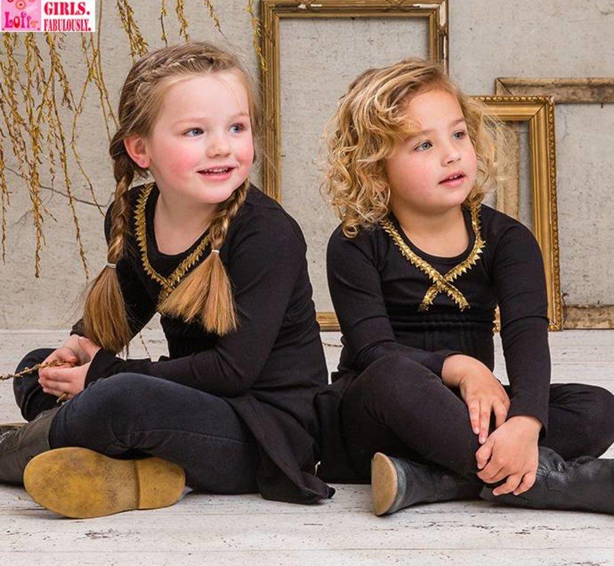 Zwart met goud feestjurkje