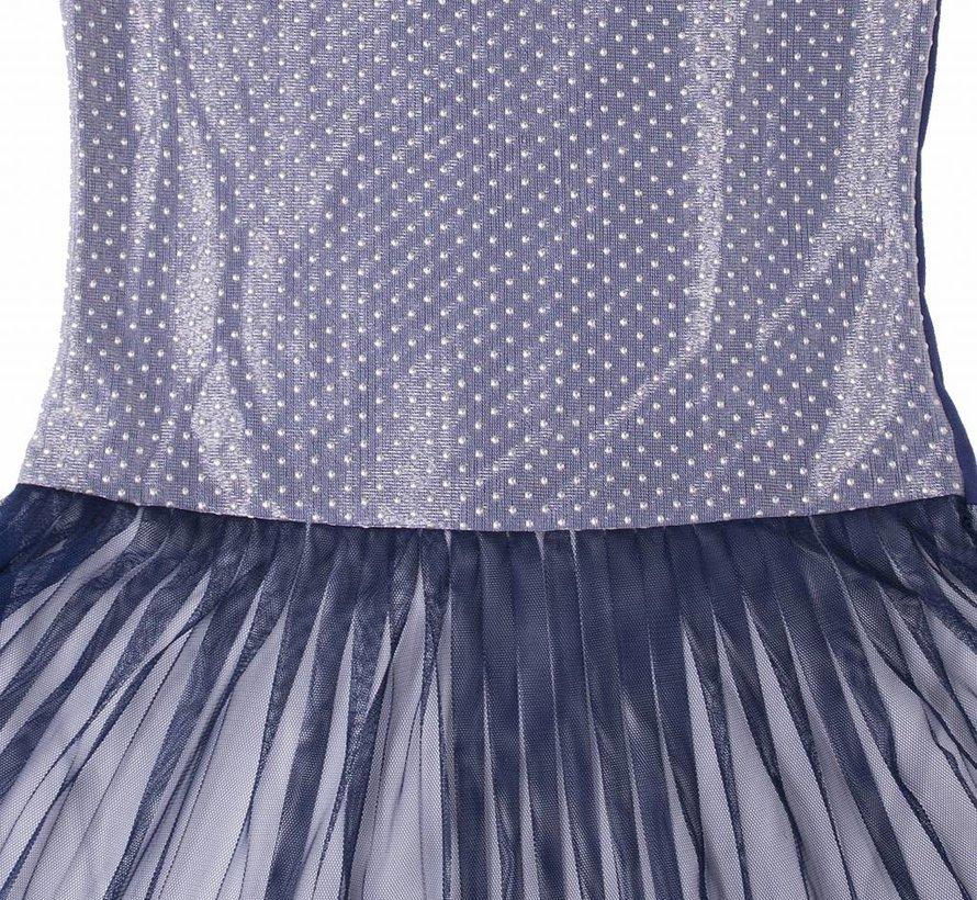 Feestjurk blauw met zilver meshlaag van  LoFff zomer 2018