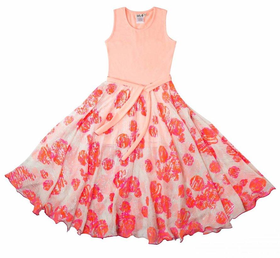 Maxi jurk oranje/roze van  LoFff zomer 2018