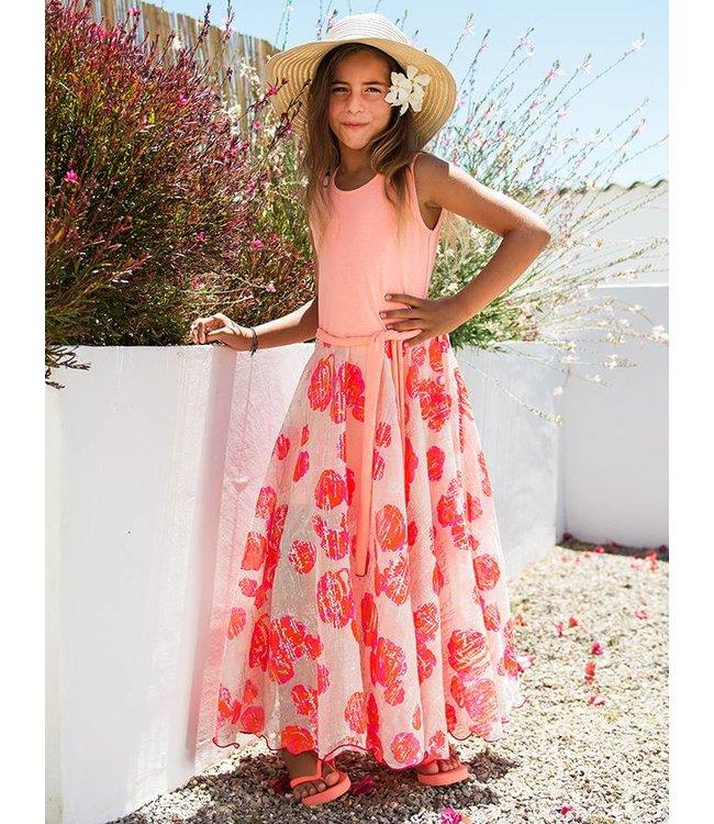 LoFff Maxi jurk  oranje/roze